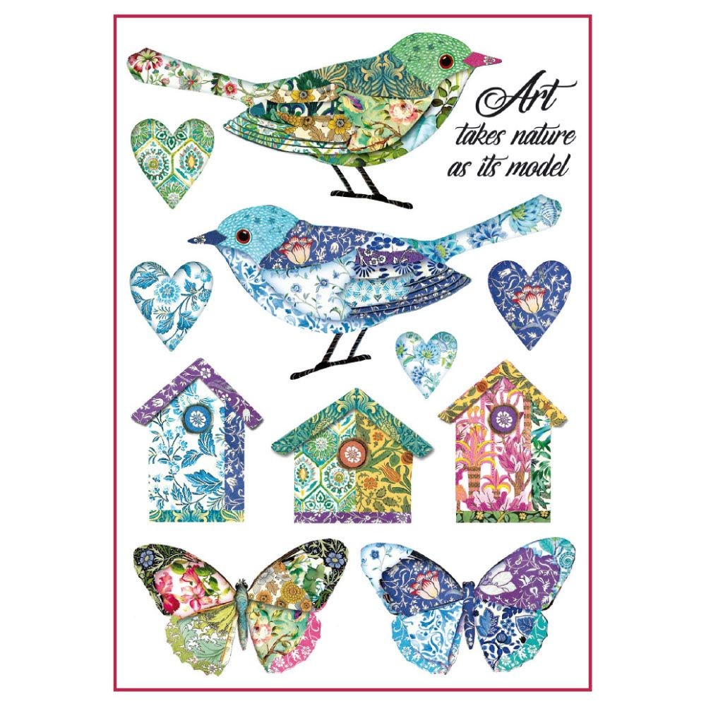Stamperia A4 Decoupage Rice Paper Packed Birds and fantasy nests