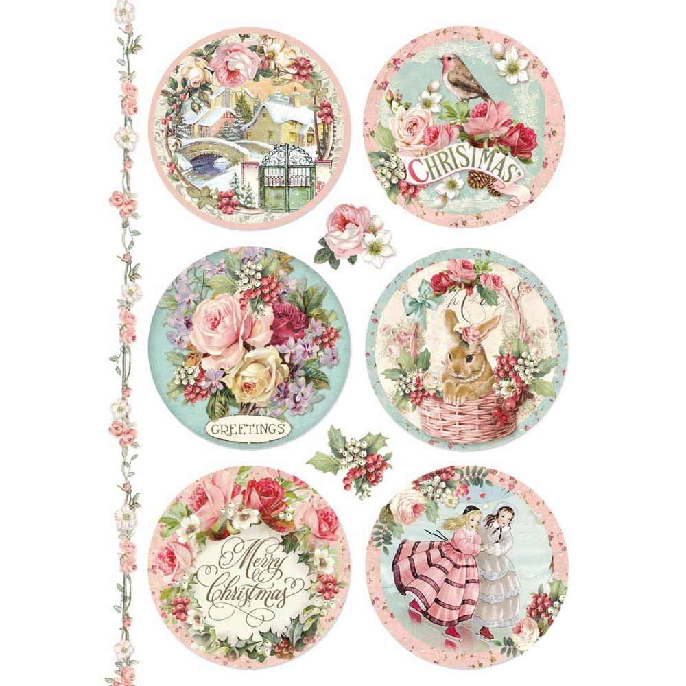 Stamperia A4 Decoupage Rice Paper packed Pink Christmas spheres