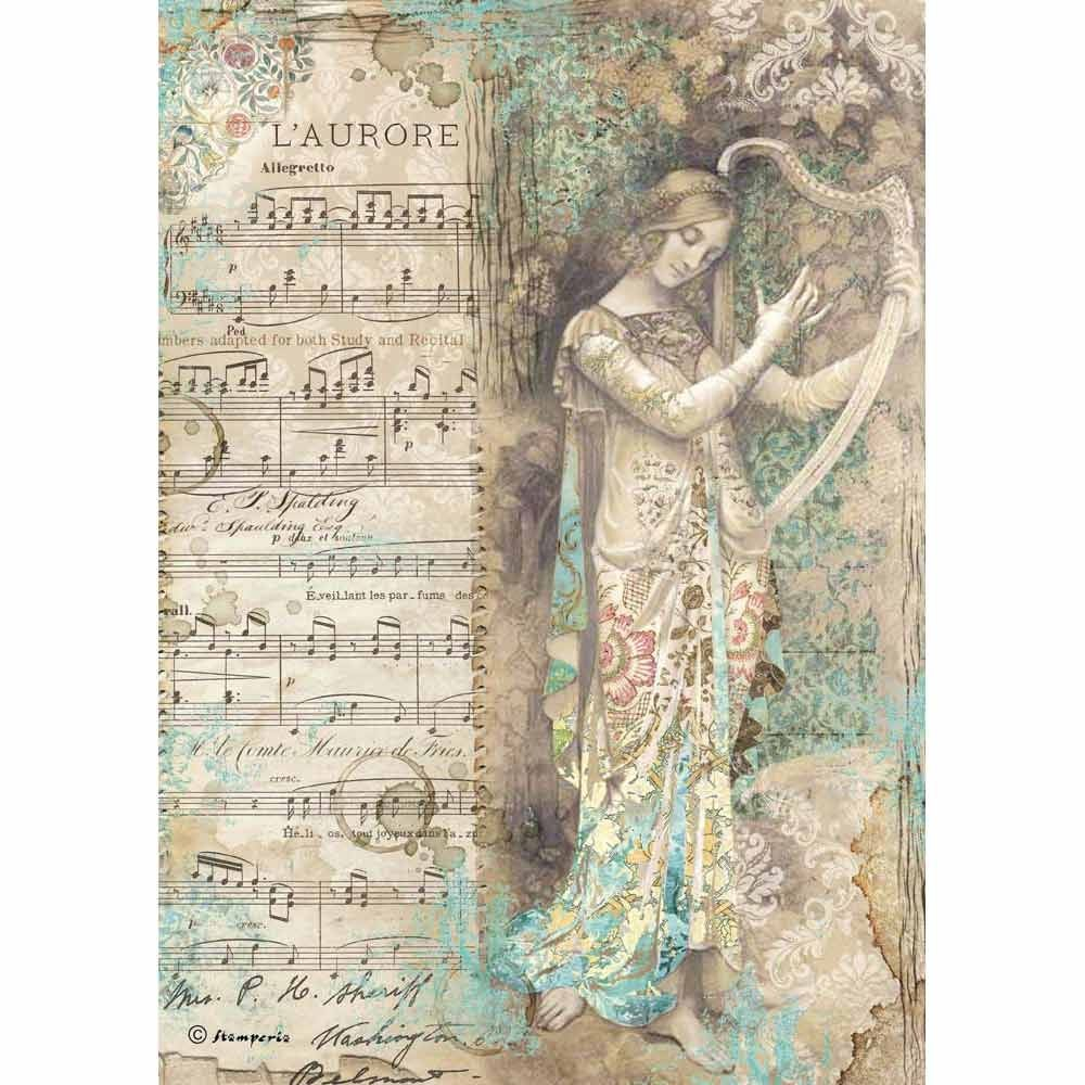 Stamperia A4 Decoupage Rice Paper packed Music Lady with harp