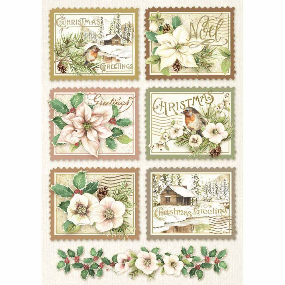 Stamperia A4 Decoupage Rice Paper packed Winter Botanic stamps