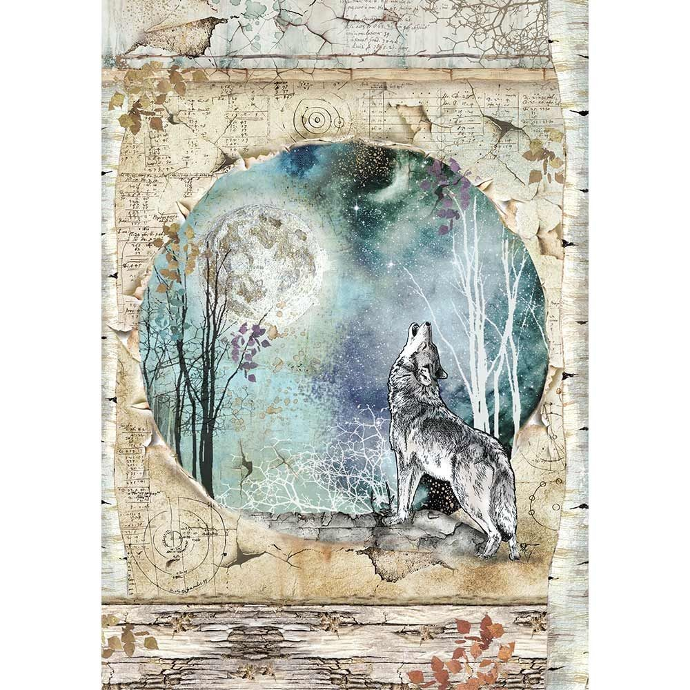 Stamperia A4 Rice paper packed Cosmos wolf and moon
