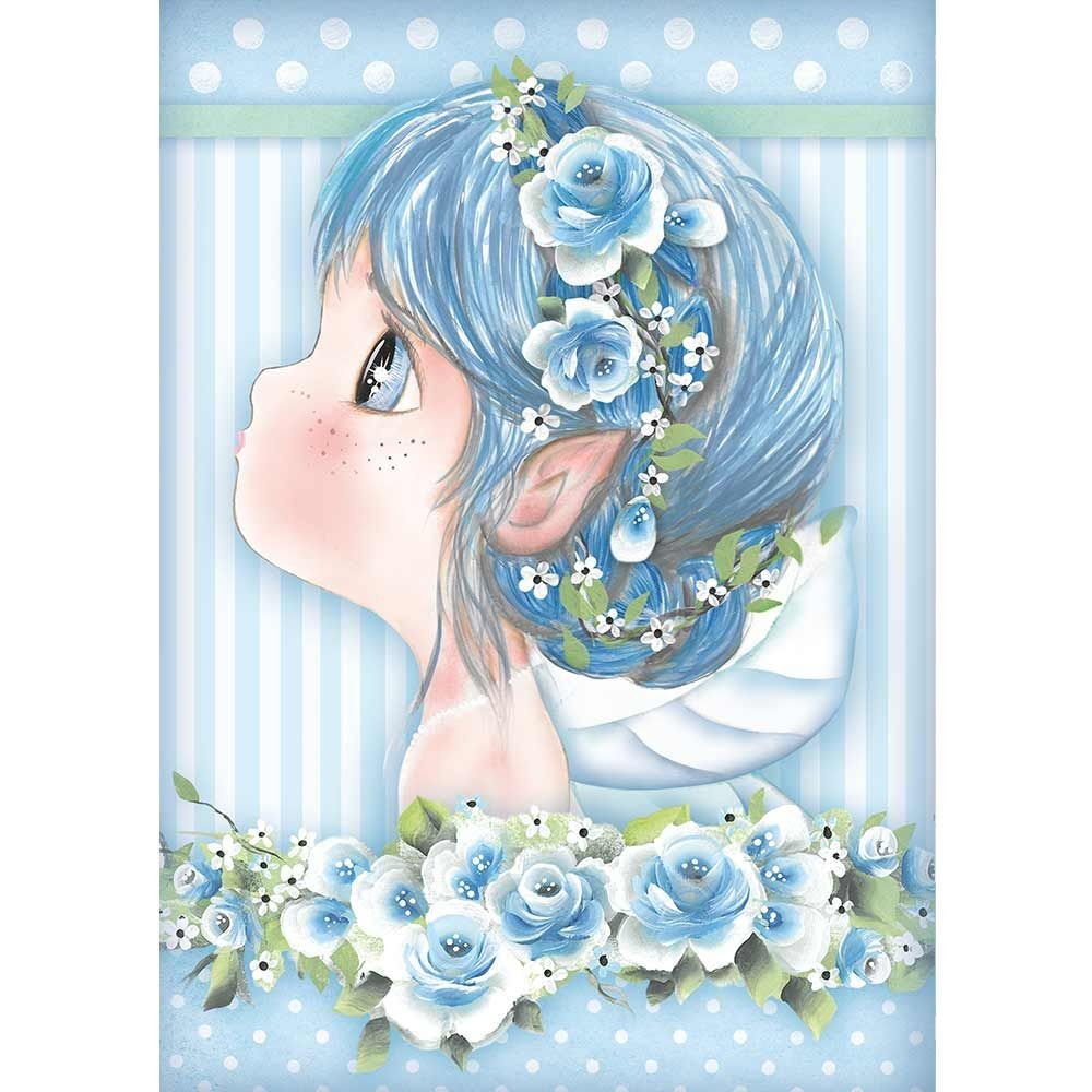 Stamperia A4 Rice paper packed Light blue fairy