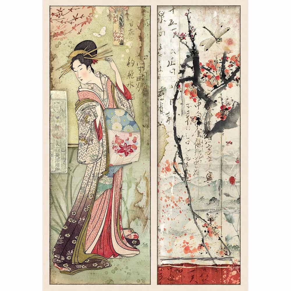 Stamperia A4 Rice paper packed Geisha and Blossoms