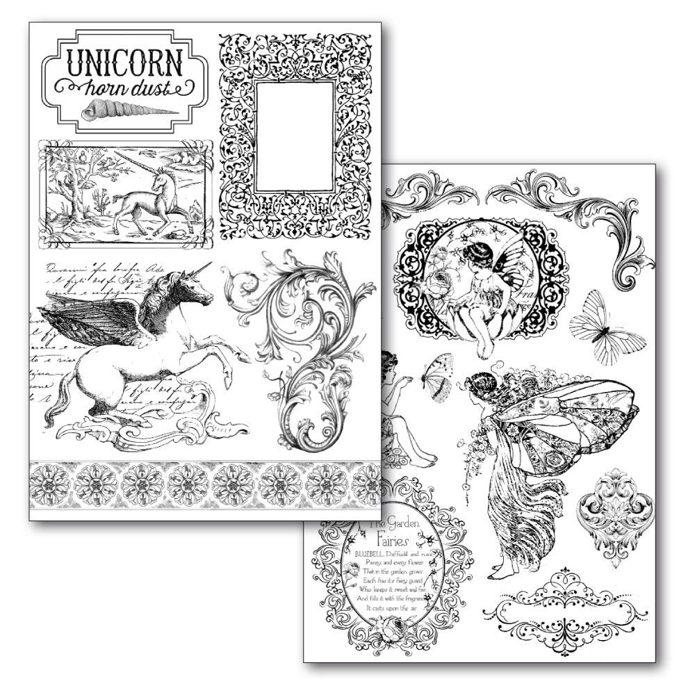 Stamperia Transfer Paper A4 size B/W - 2 sheets pack  Wonderland