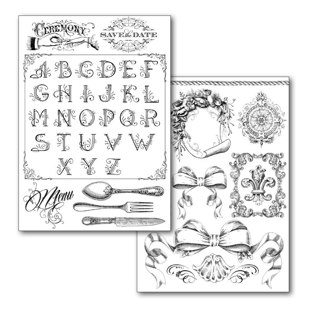 Stamperia Transfer Paper A4 size B/W - 2 sheets pack  Alphabet and decorations