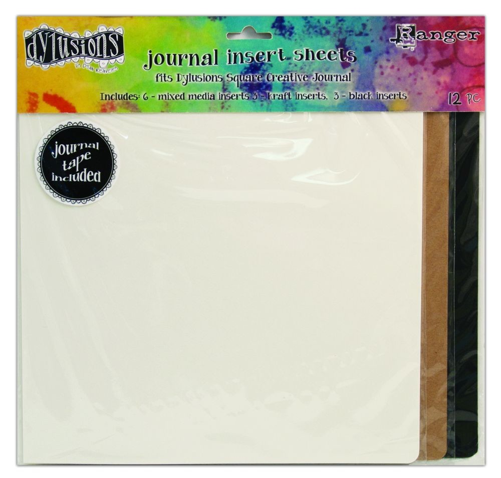 Ranger Dylusions Journal Insert Sheets Assortments Square (3 Black, 3 Kraft, 6 Mixed Media & 1 Sheet of 24 Adhesive Stickers)