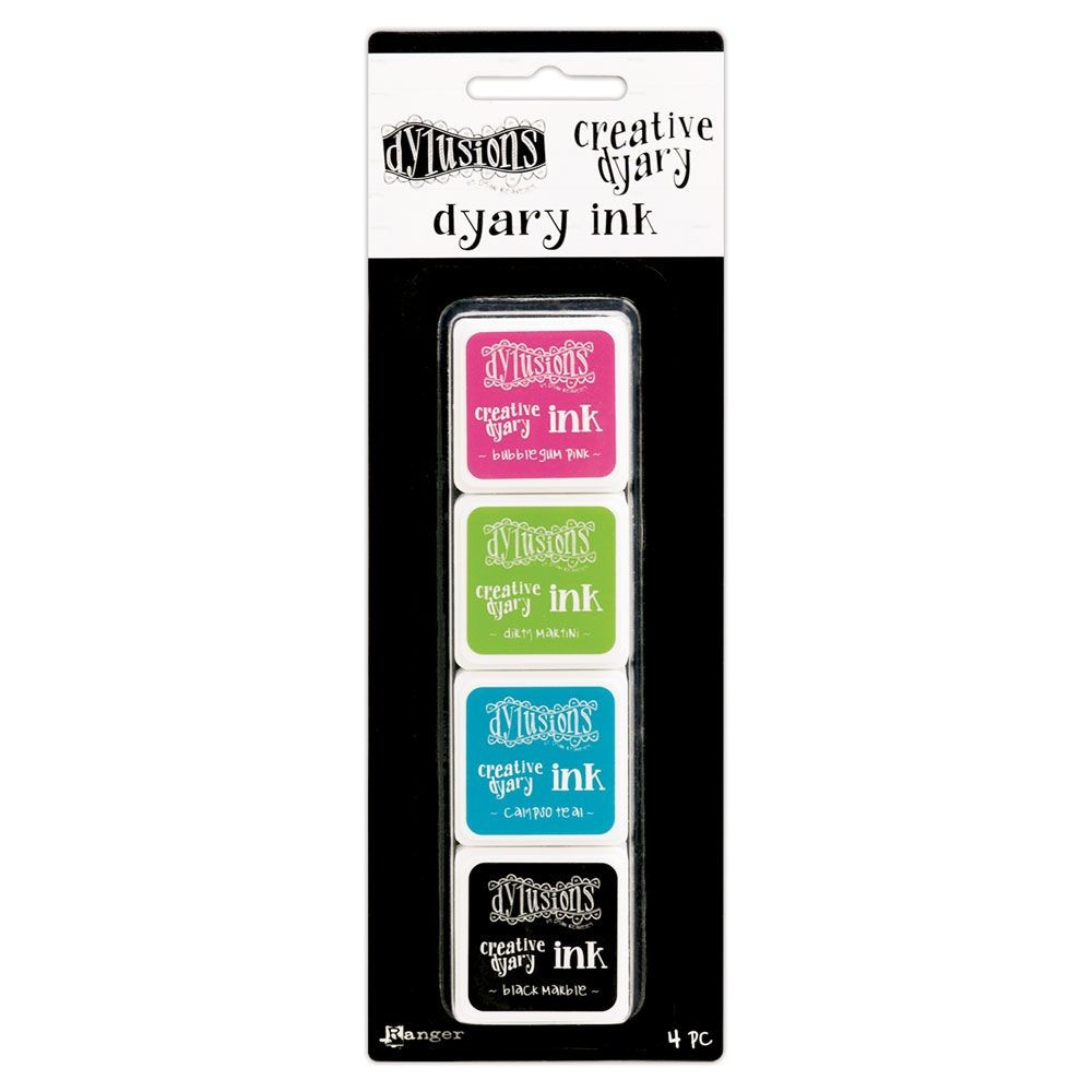 Ranger Dylusions Creative Dyary Ink Set (Includes 1 each of Black Marble, Bubblegum Pink, Calypso Teal & Dirty Martini Mini Archival Ink Pads)