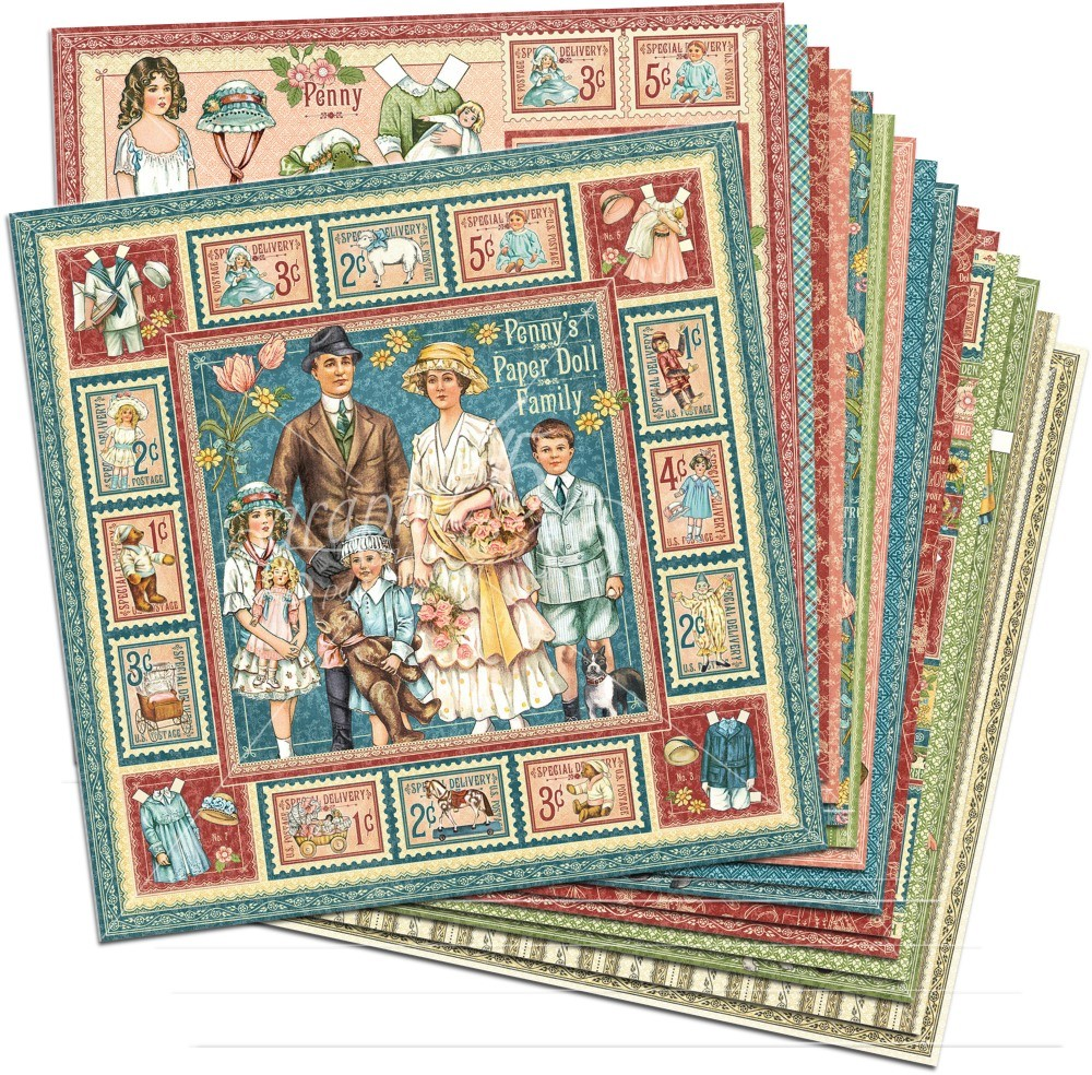 Graphic 45 Penny''s Paper Doll Family 12x12 Paper Pack (16 sheets)
