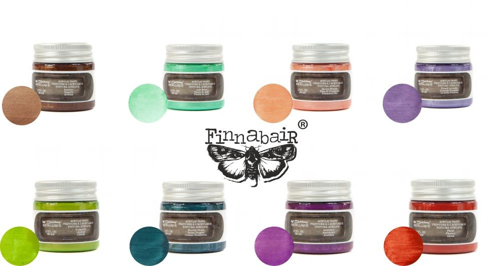 Prima Marketing Finnabair Bundle Summer 2019 Release NEW Metallique Paint (Jade Stone, Spring Blossom, French Lavender, Dragonfly, Stormy Ocean, Amethyst, Flame, Hazelnut)