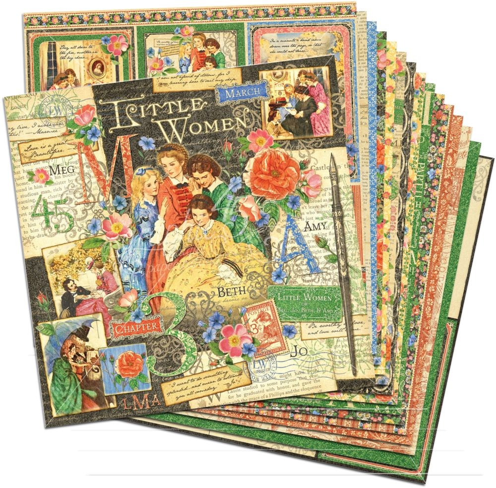 Graphic 45 Little Women 12x12 Paper Pack (16 sheets)