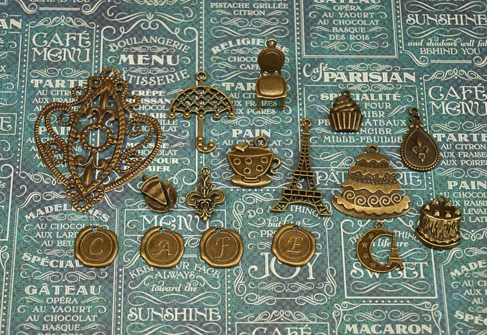 Vintage Charms hand selected by FotoBella for Graphic 45 Cafe Parisian