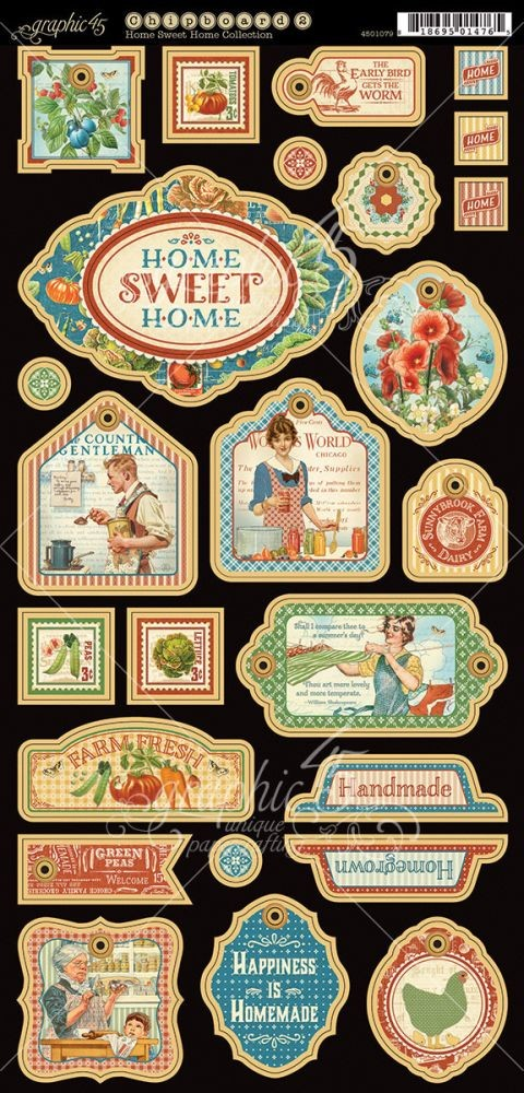 Graphic 45 Home Sweet Home Decorative Chipboard