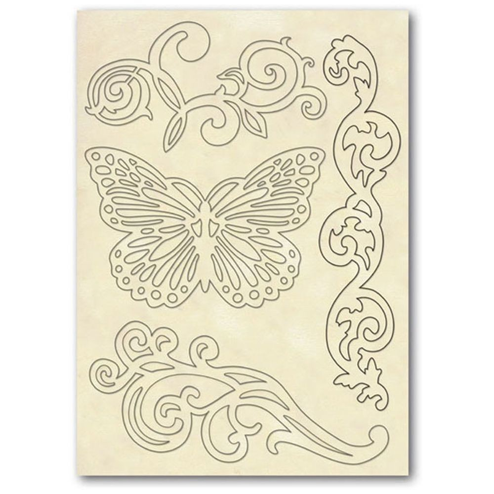 Stamperia Wooden frame f.to A5 Butterfly and borders