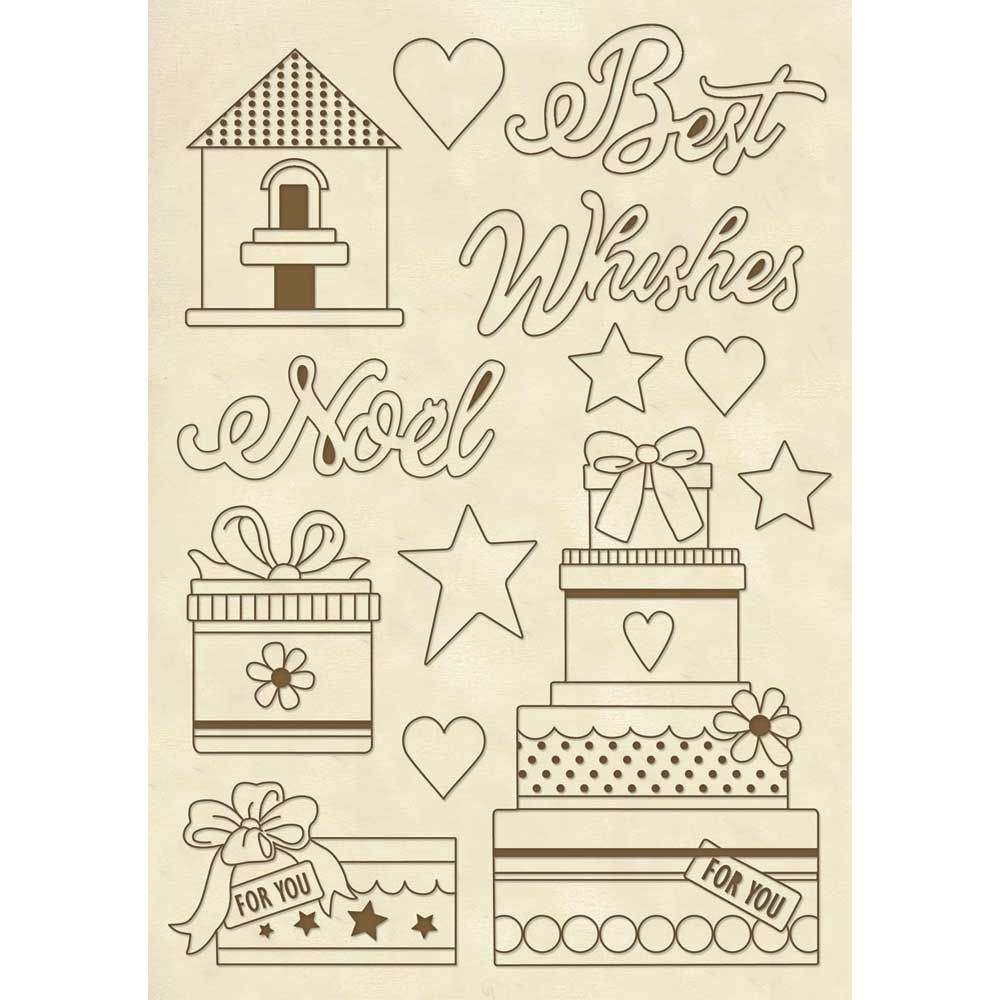 "Stamperia Wooden frame A5 size ""Best wishes Noel"""