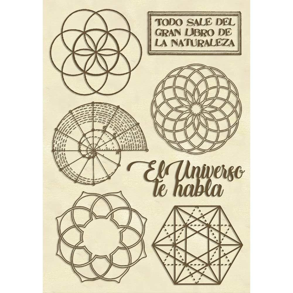 Stamperia Wooden shape f.to A6 - Sacred geometry