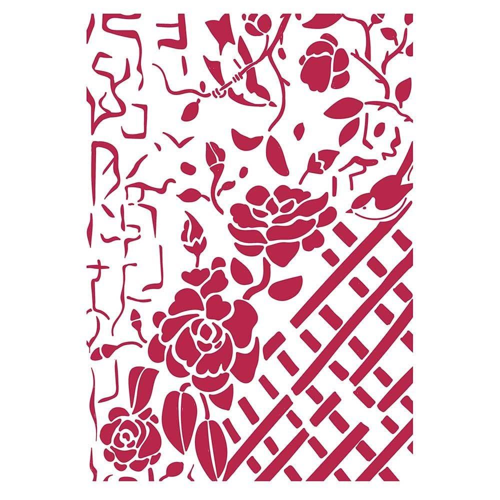Stamperia Stencil G cm. 21x29,7 Fence with Roses