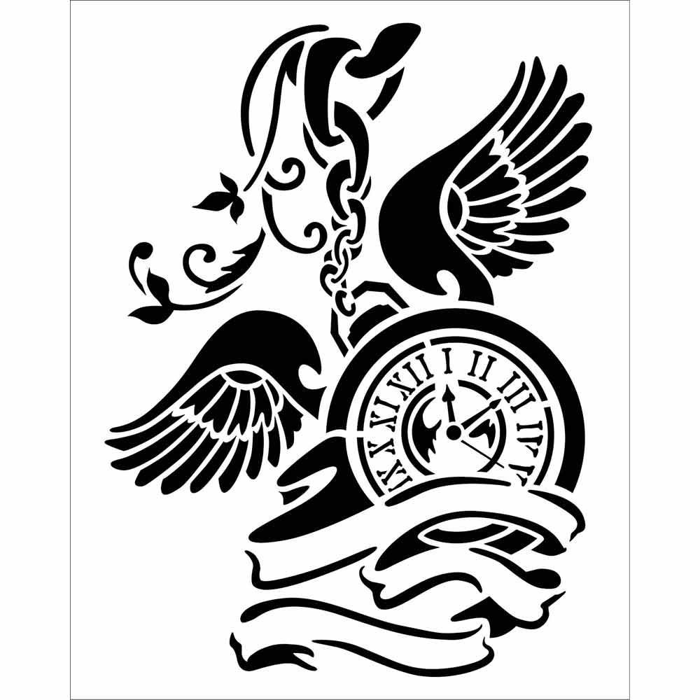 Stamperia Thick stencil 20x25 cm Pendulum clock with wings