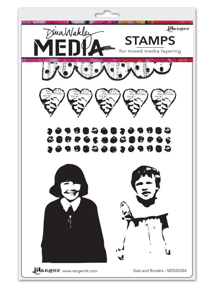 Ranger Dina Wakley Media Cling Stamps - Gals And Borders