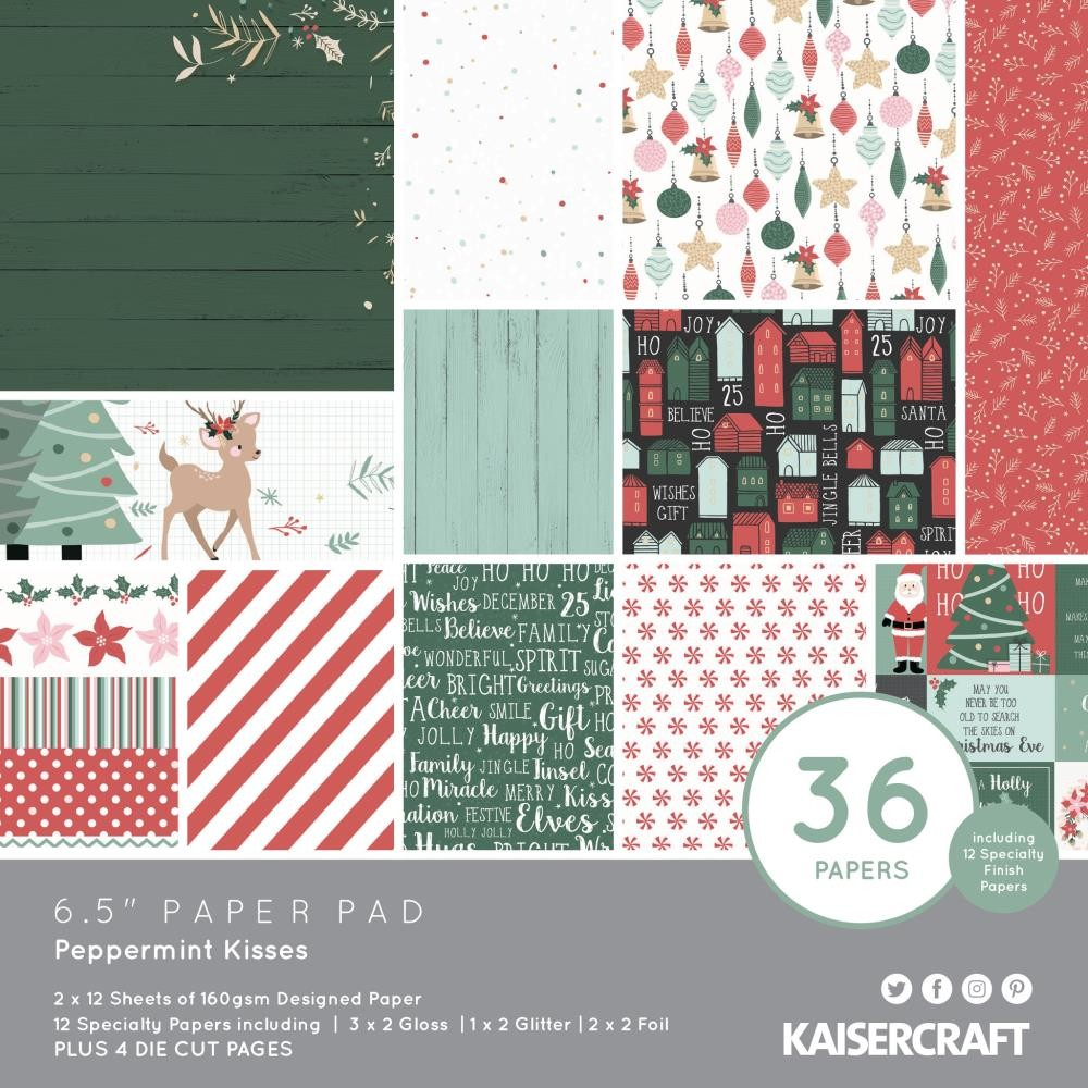 "KaiserCraft Peppermint Kisses  6.5""X6.5"" paper pad (40 pages)"