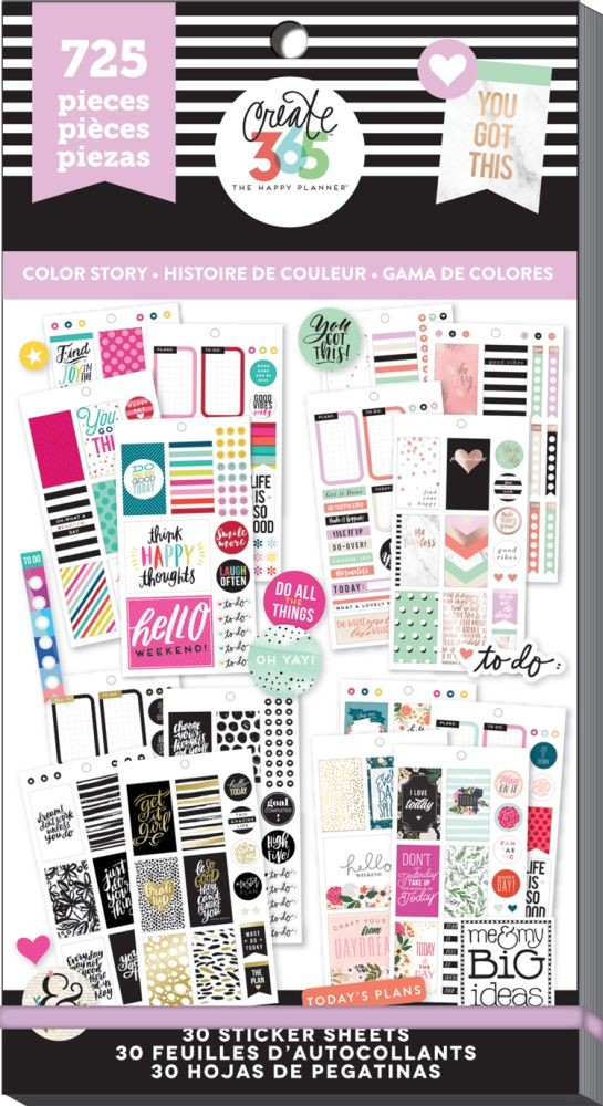 Me & My Big Ideas Create 365 The Happy Planner Sticker Value Pack - Color Way (Classic)