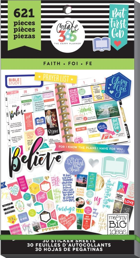 Me & My Big Ideas Create 365 The Happy Planner Sticker Value Pack - Faith (Classic)