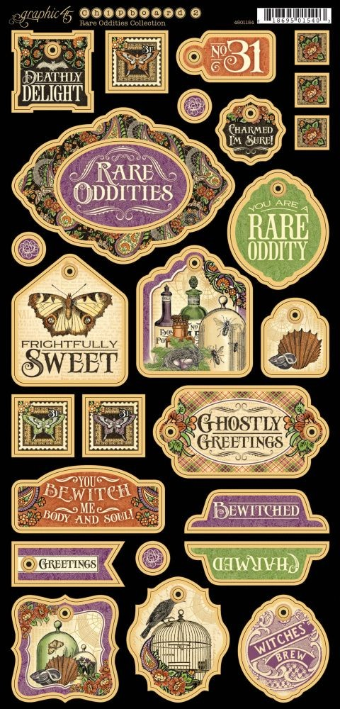 Graphic 45 Rare Oddities Decorative Chipboard