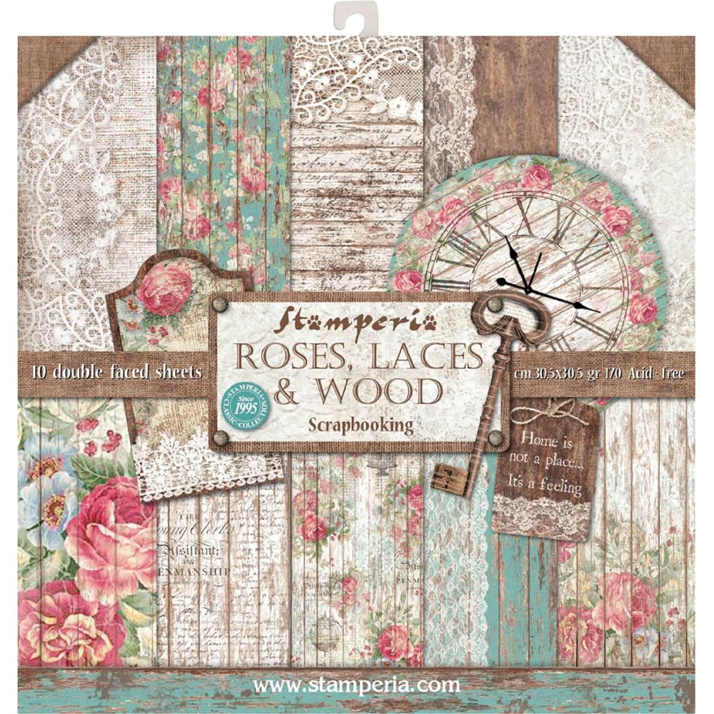 Stamperia 12x12 Paper Pad - Roses, Lace & Wood (10 Double Sided Sheets)