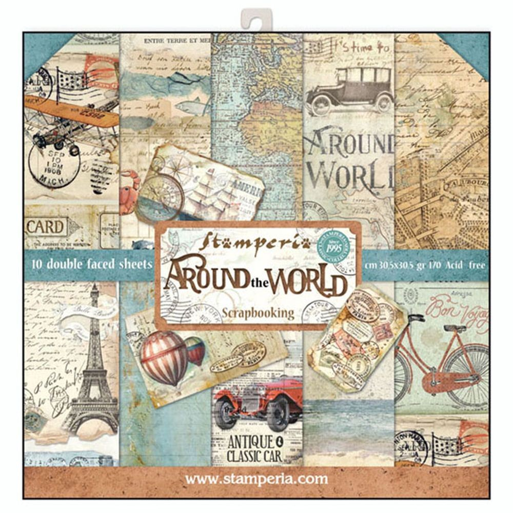 Stamperia 12x12 Paper Pad - Around the World (10 Double Sided Sheets)