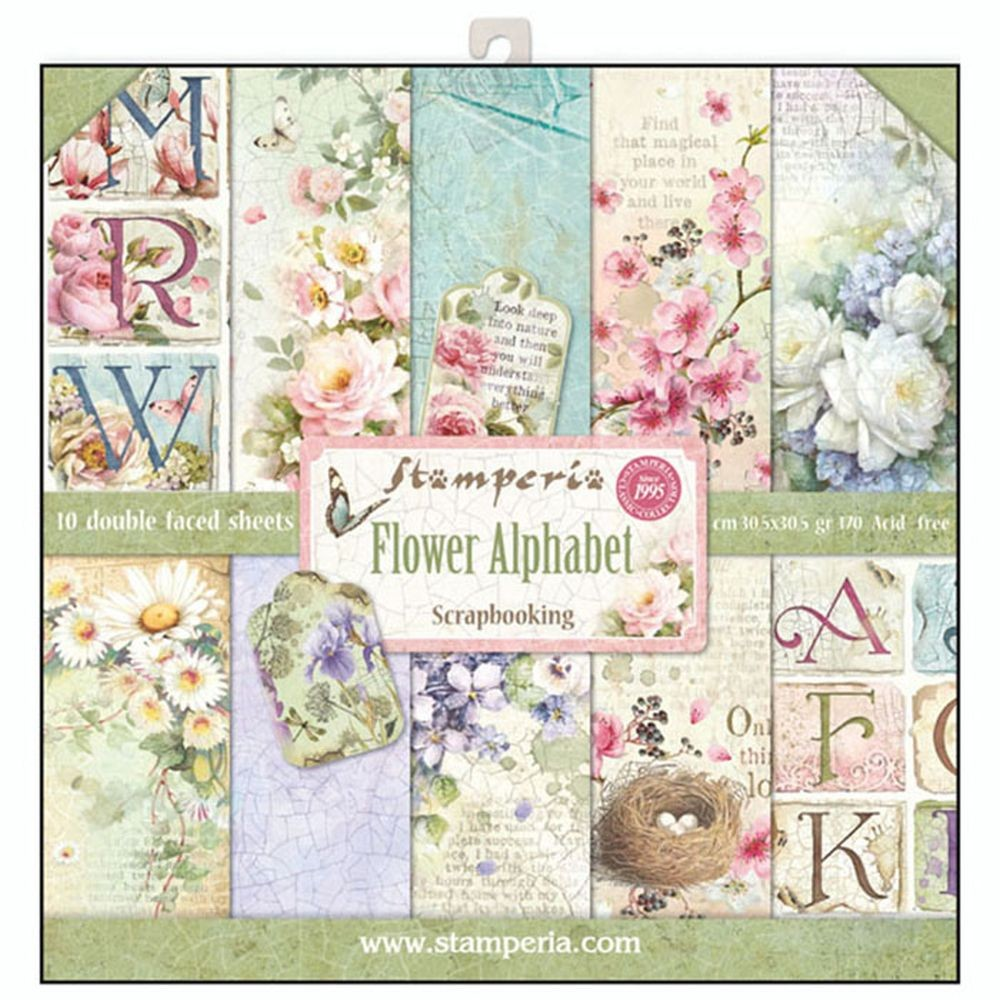 Stamperia 12x12 Paper Pad - Flower Alphabet (10 Double Sided Sheets)