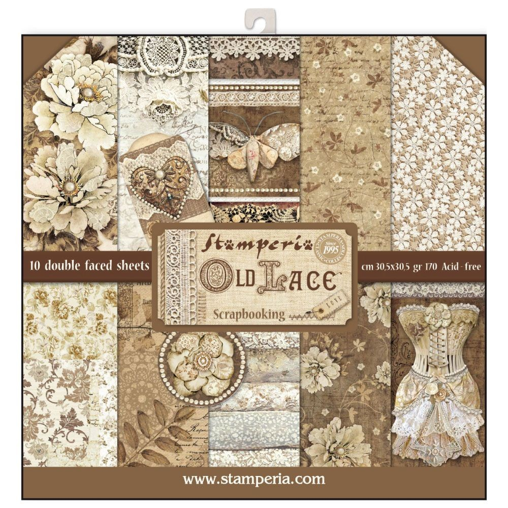 Stamperia 12x12 Paper Pad - Old Lace (10 Double Sided Sheets)