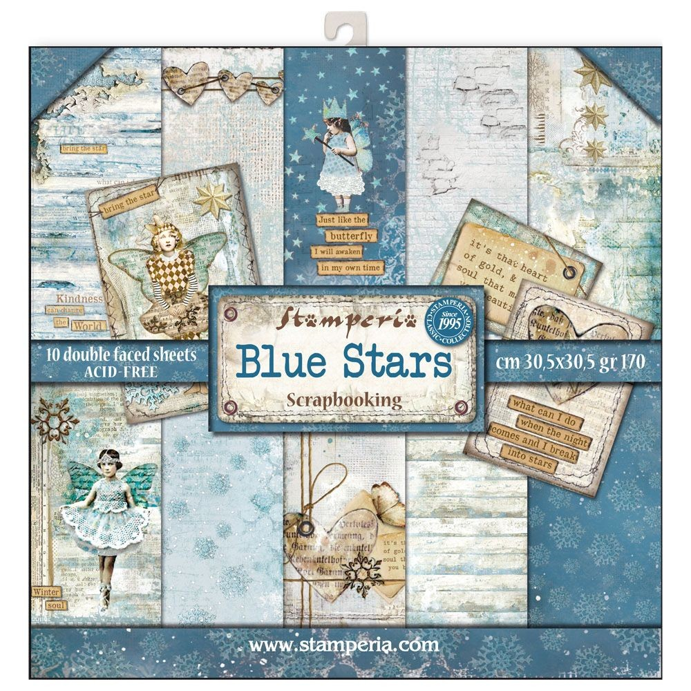 Stamperia 12x12 Paper Pad - Blue Stars (10 Double Sided Sheets)
