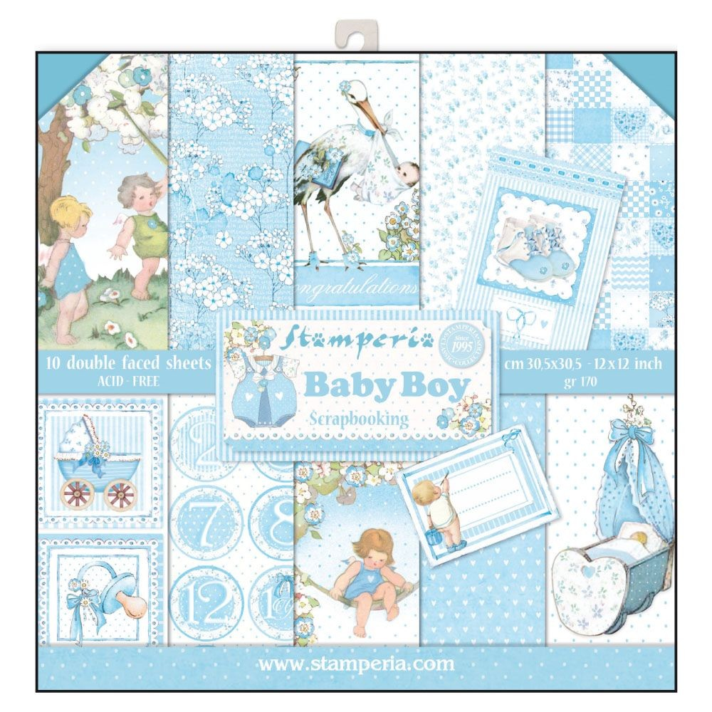 Stamperia 12x12 Paper Pad - Baby Boy (10 Double Sided Sheets)