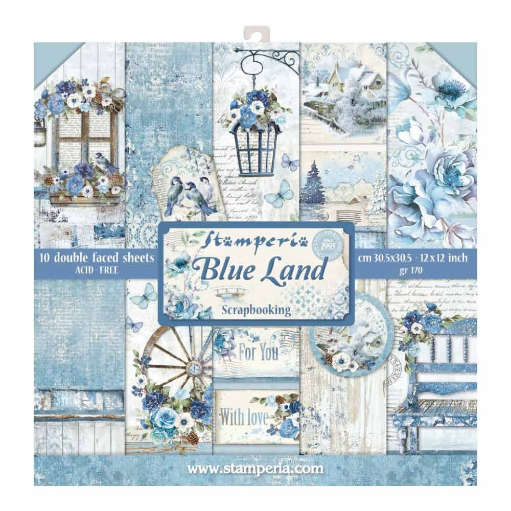 Stamperia 12x12 Paper Pad - Blue Land (10 Double Sided Sheets)
