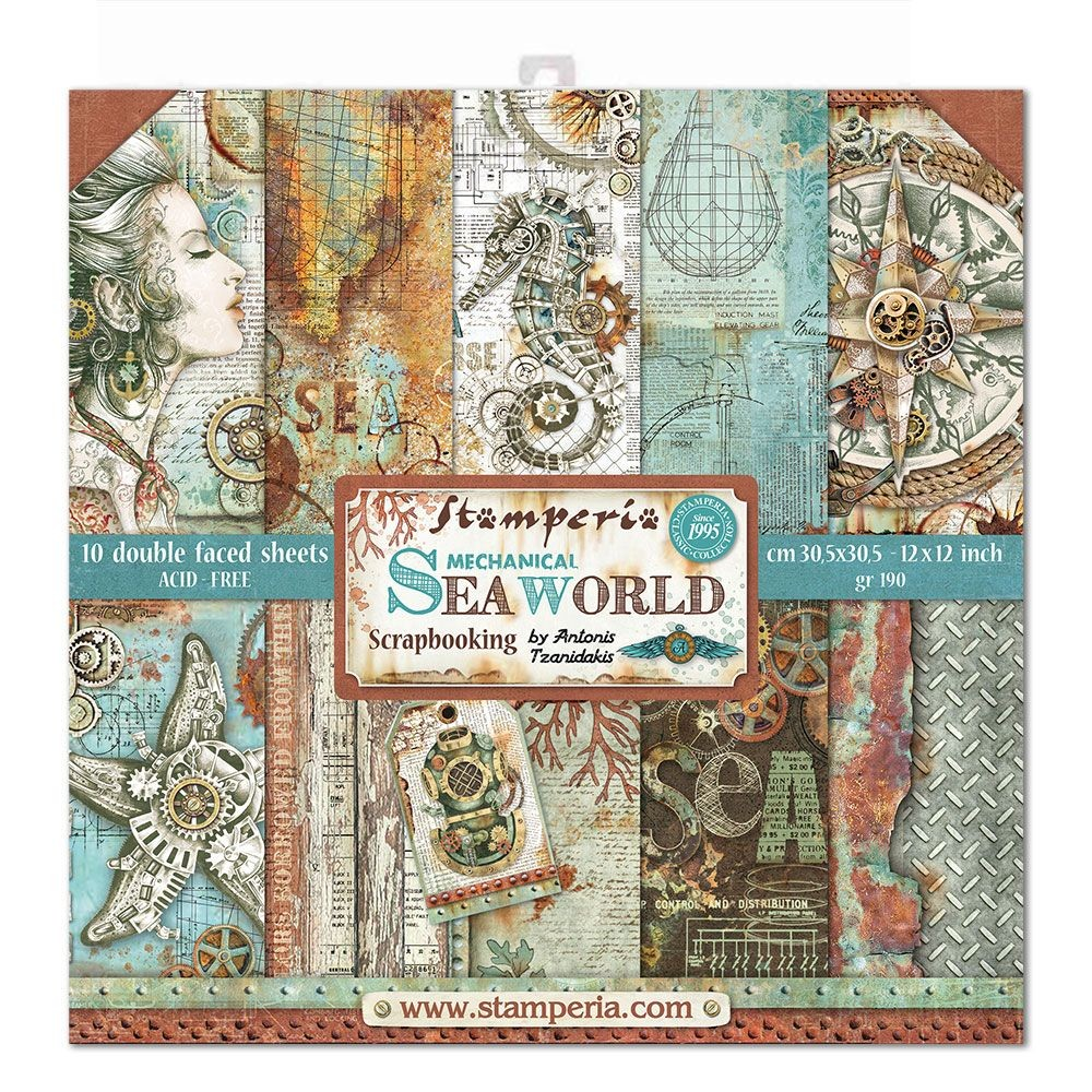 "Stamperia Block 10 Papers 30.5x30.5 (12""x12"") Double Face Sea World"