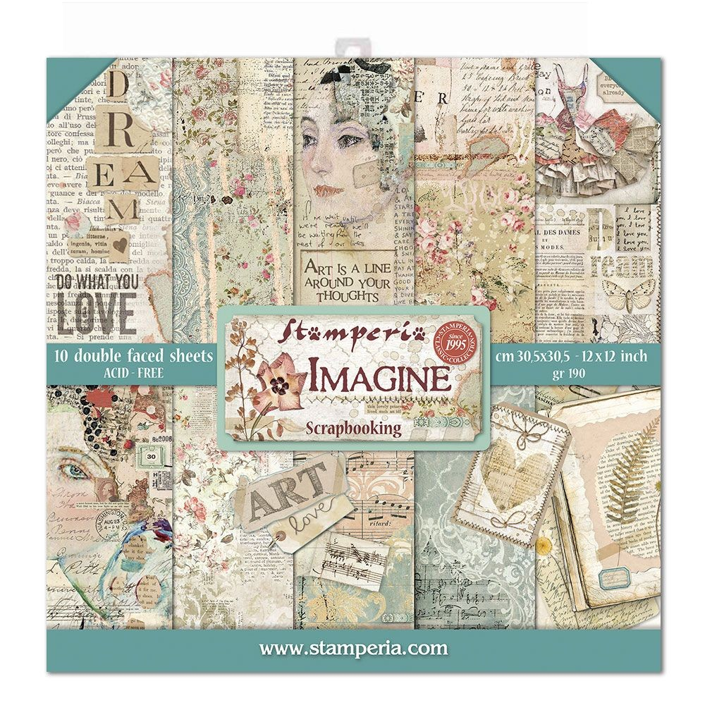 "Stamperia Block 10 Papers 30.5x30.5 (12""x12"") Double Face Imagine"