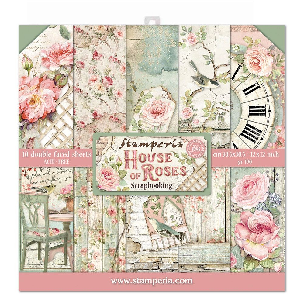 "Stamperia Block 10 Papers 30.5x30.5 (12""x12"") Double Face House of Roses"