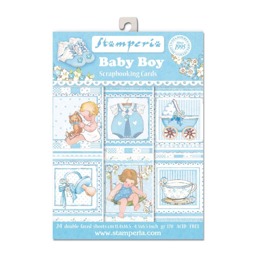 "Stamperia 4.5""x6.5"" Card Stack - Baby Boy (24 Doubled Sided Cards)"