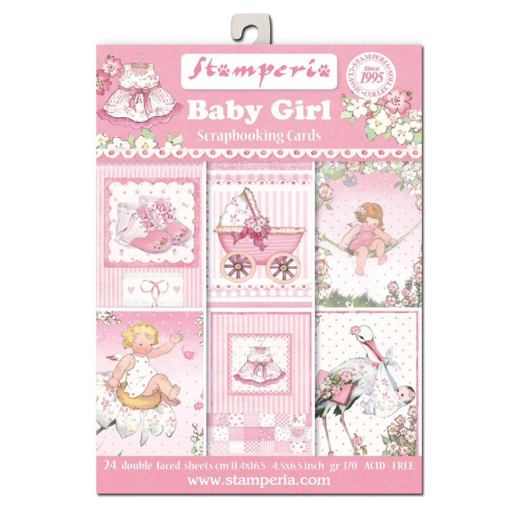 "Stamperia 4.5""x6.5"" Card Stack - Baby Girl (24 Doubled Sided Cards)"