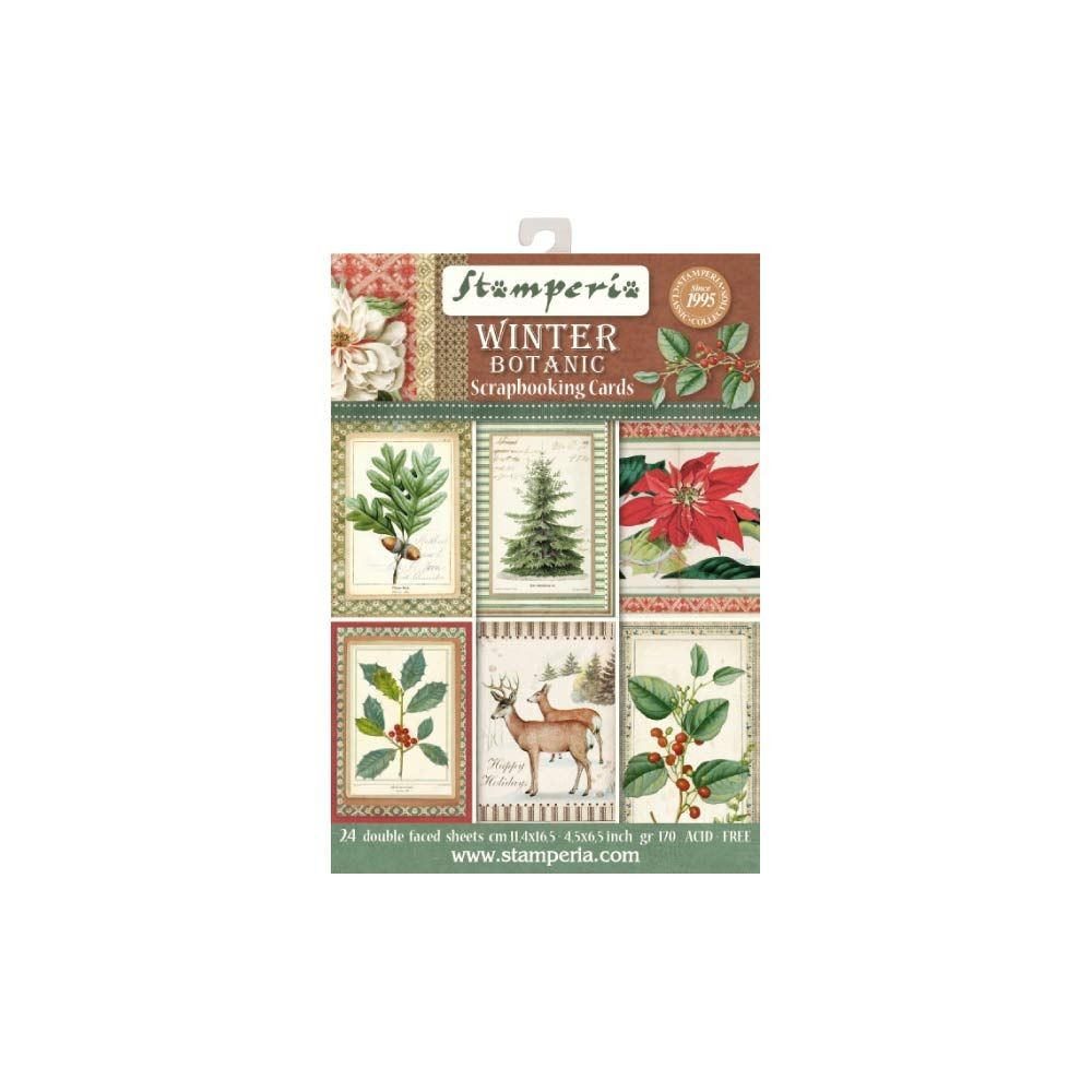 "Stamperia 4.5""x6.5"" Card Stack - Winter Botanic (24 Doubled Sided Cards)"