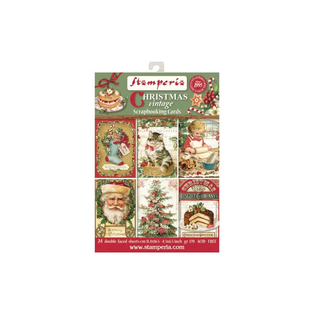 "Stamperia 4.5""x6.5"" Card Stack - Christmas Vintage (24 Doubled Sided Cards)"