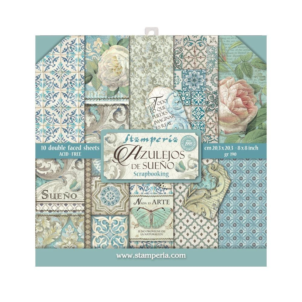 "Stamperia Block 10 sheets 20.3X20.3  (8""X8"") Double Face Azulejos de sueno"