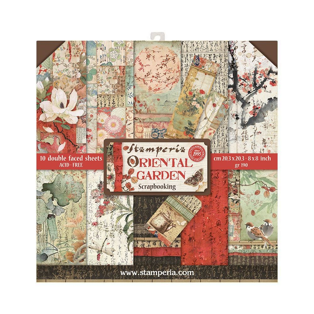 "Stamperia Block 10 Papers 20.3X20.3 (8""X8"") Double Face Oriental Garden"