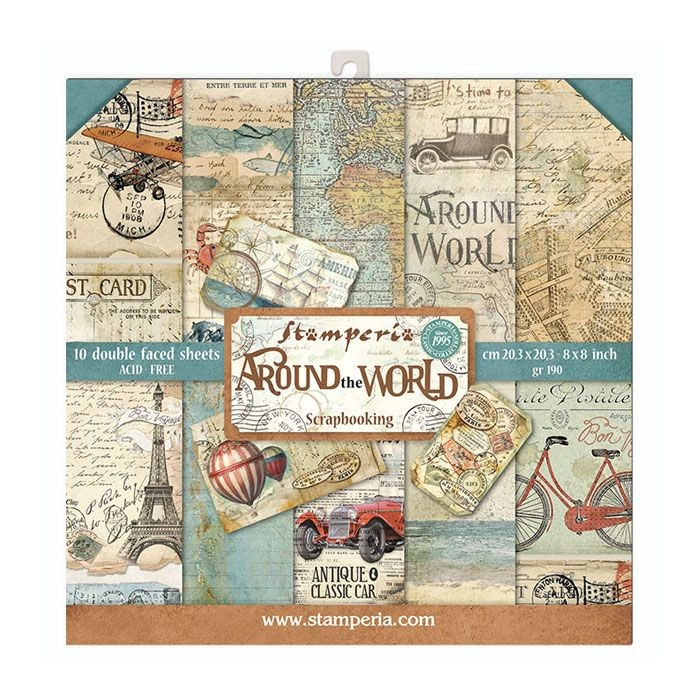 "Stamperia Block 10 Papers 20.3X20.3 (8""X8"") Double Face Around the World"
