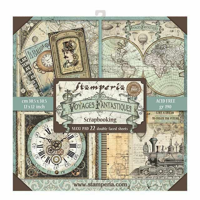 Stamperia 12x12 Paper Pad - Voyages Fantastiques (22 Double Sided Sheets)