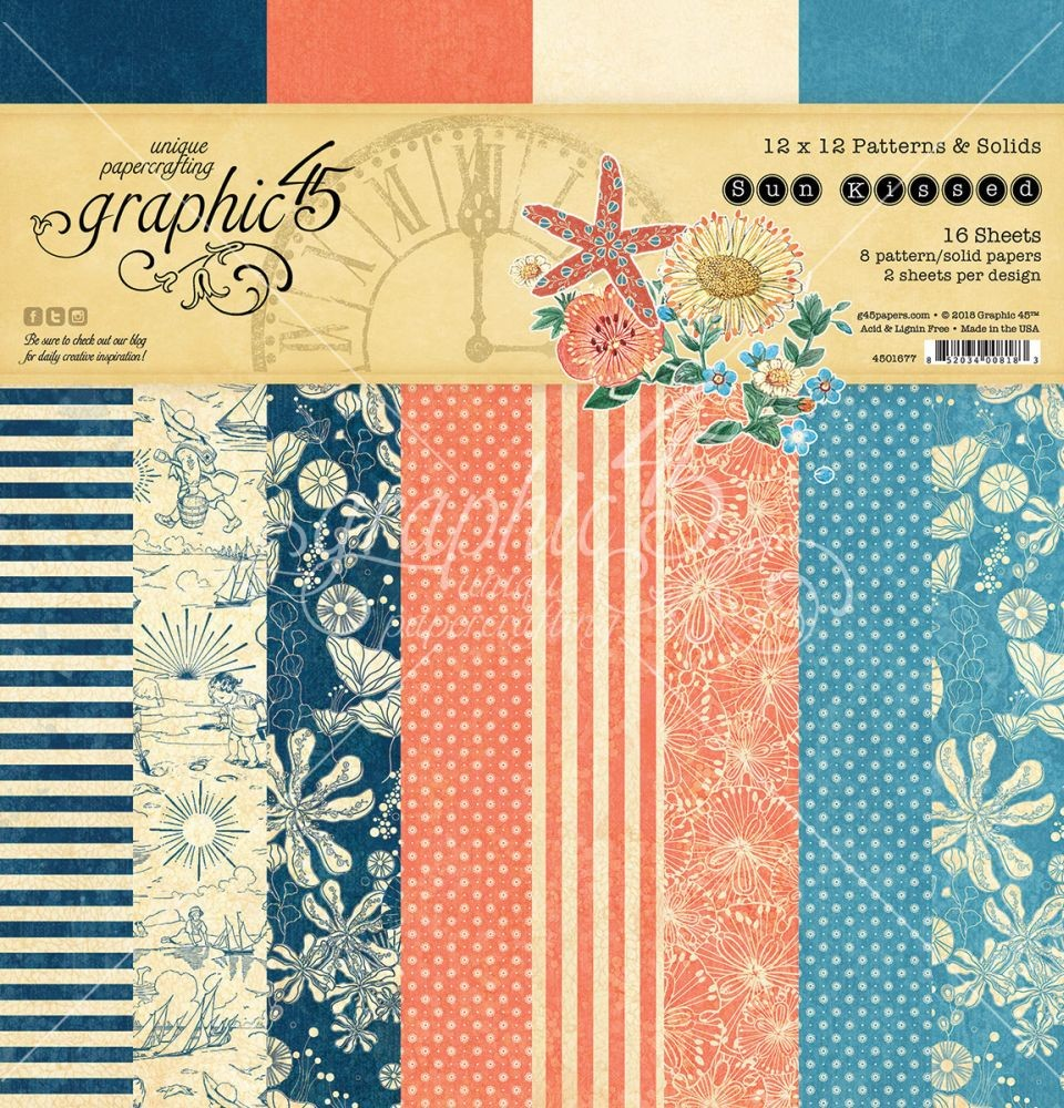 Graphic 45 Sun Kissed 12x12 Patterns & Solids Pad
