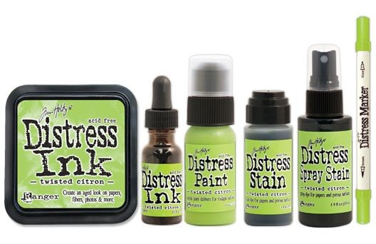 Twisted Citron Distress Bundle - Paint, Marker, Stain, Ink Pad, Spray Stain, Reinker - Tim Holtz Distress Ink May Color Of The Month