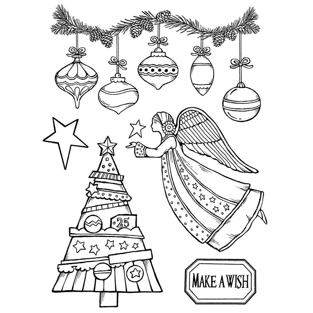 Stamperia HD Natural Rubber Stamp cm. 14x18 Make a wish Angel