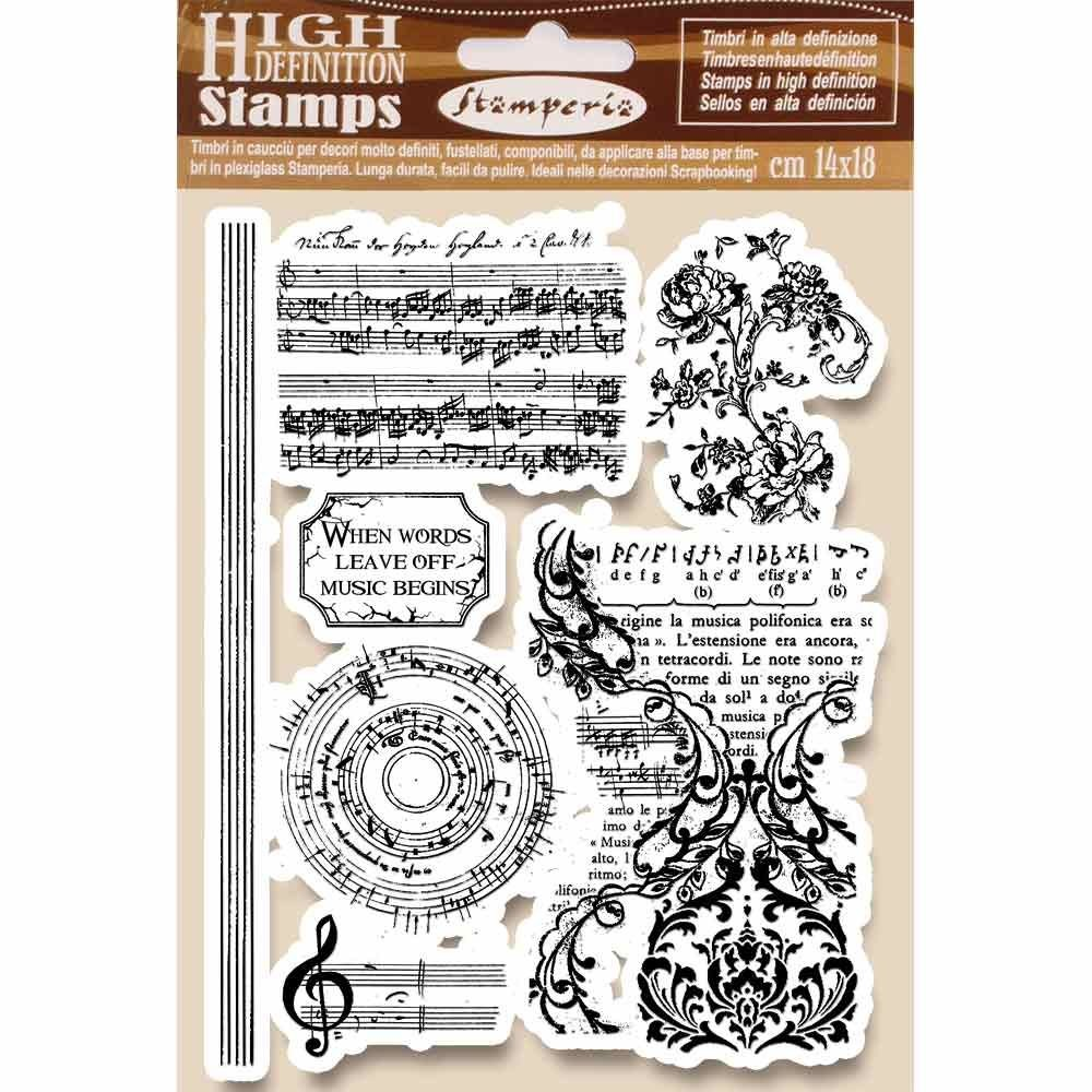 Stamperia HD Natural Rubber Stamp cm.14x18 Music beginning