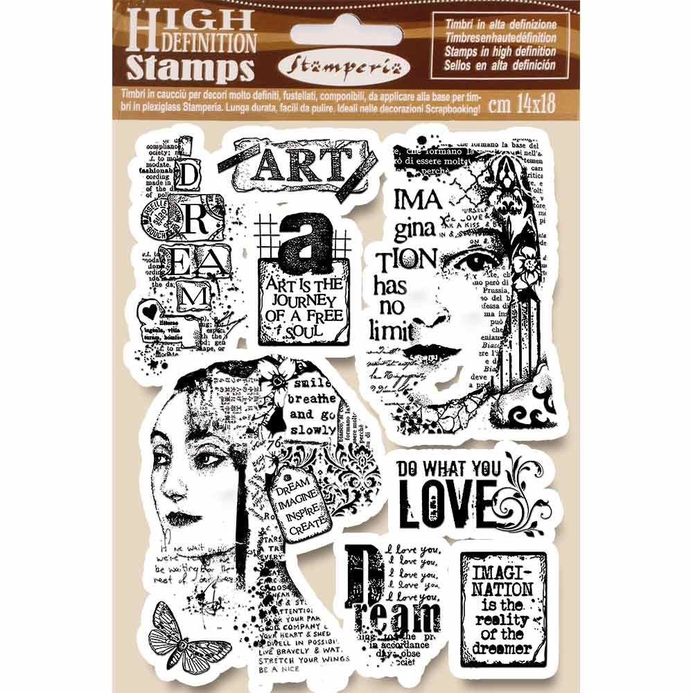 Stamperia HD Natural Rubber Stamp cm.14x18 Art is the journey