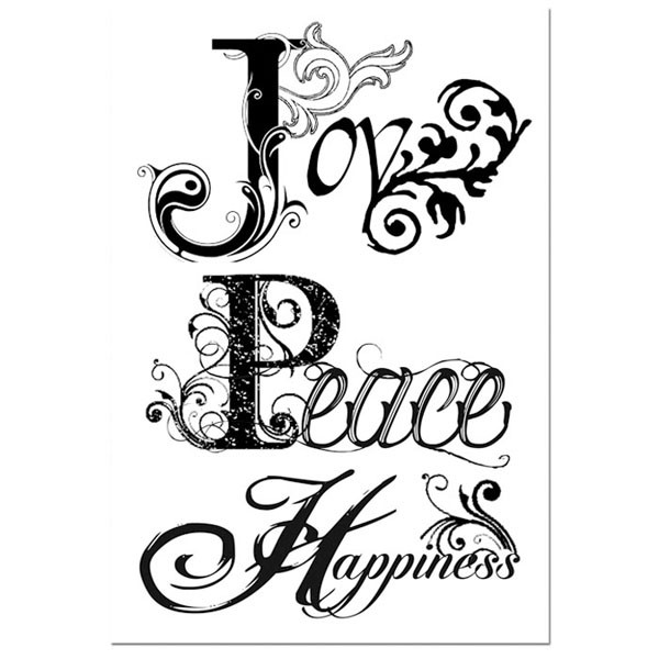 Stamperia HD Natural Rubber Stamp cm. 7x11 Joy, Peace, Happiness